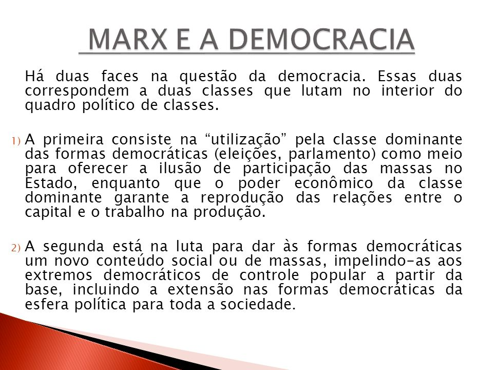 MARX E A DEMOCRACIA