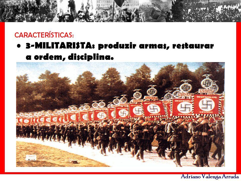 3-MILITARISTA: produzir armas, restaurar a ordem, disciplina.
