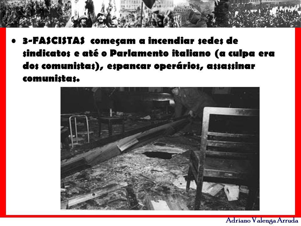 3-FASCISTAS começam a incendiar sedes de sindicatos e até o Parlamento italiano (a culpa era dos comunistas), espancar operários, assassinar comunistas.