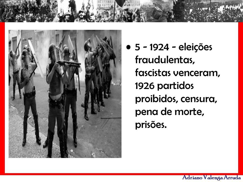 5 - 1924 - eleições fraudulentas, fascistas venceram, 1926 partidos proibidos, censura, pena de morte, prisões.