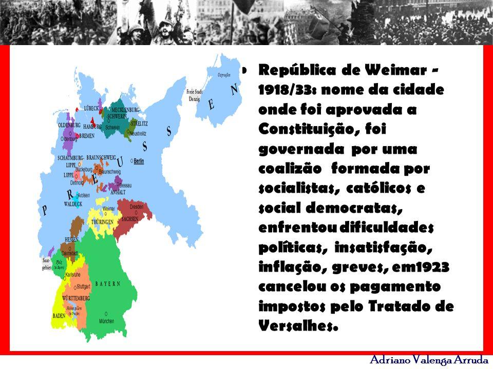 República de Weimar -1918/33: nome da cidade onde foi aprovada a Constituição, foi governada por uma coalizão formada por socialistas, católicos e social democratas, enfrentou dificuldades políticas, insatisfação, inflação, greves, em1923 cancelou os pagamento impostos pelo Tratado de Versalhes.