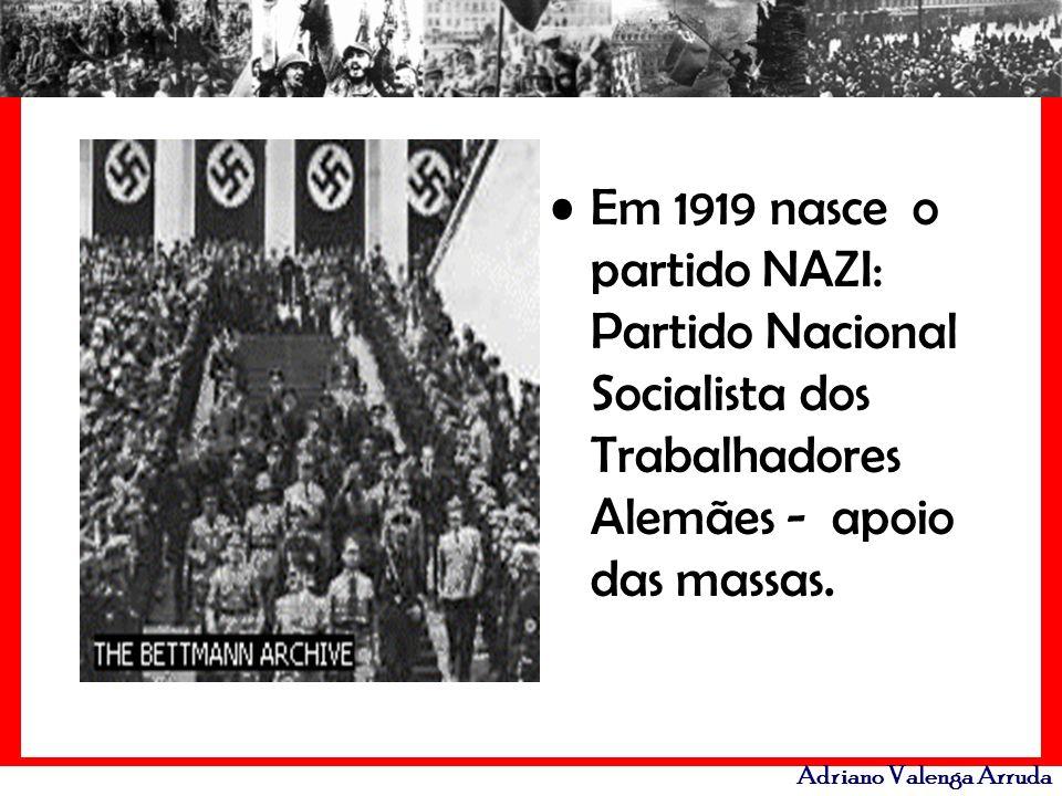 Em 1919 nasce o partido NAZI: Partido Nacional Socialista dos Trabalhadores Alemães - apoio das massas.