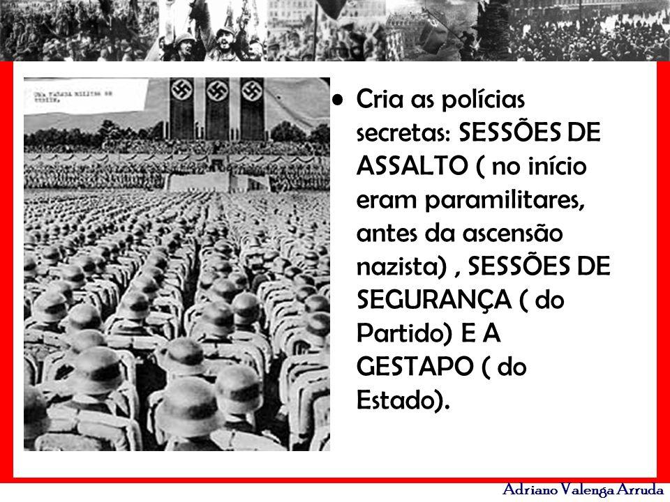 Cria as polícias secretas: SESSÕES DE ASSALTO ( no início eram paramilitares, antes da ascensão nazista) , SESSÕES DE SEGURANÇA ( do Partido) E A GESTAPO ( do Estado).
