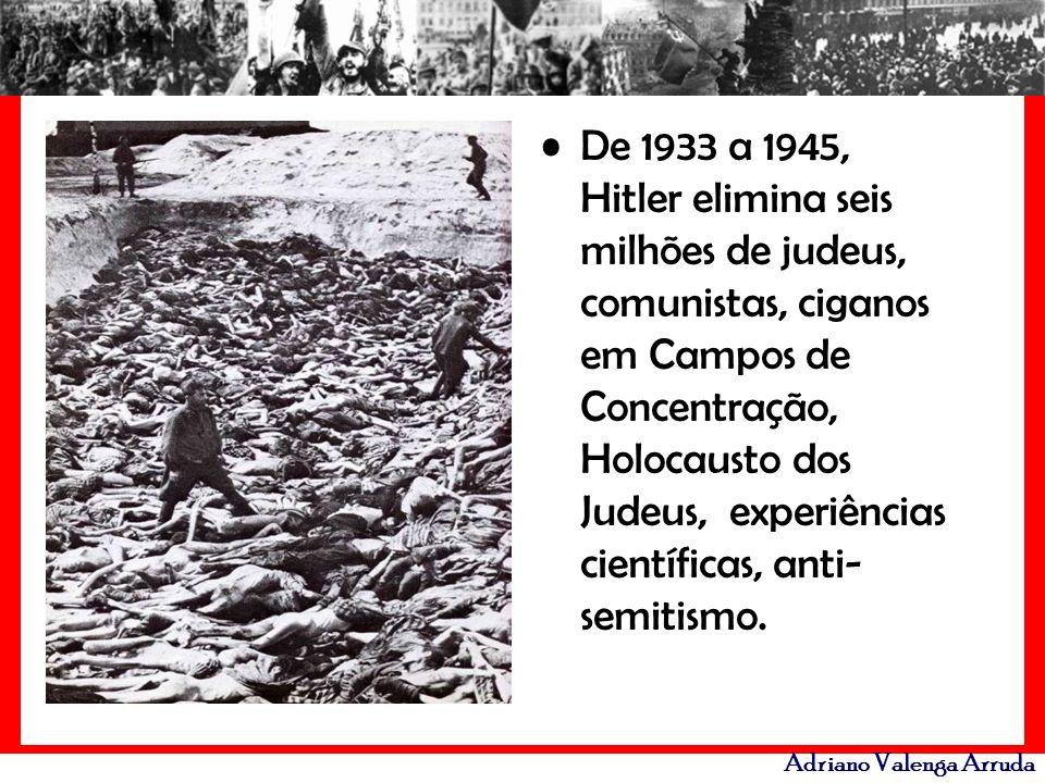 De 1933 a 1945, Hitler elimina seis milhões de judeus, comunistas, ciganos em Campos de Concentração, Holocausto dos Judeus, experiências científicas, anti-semitismo.
