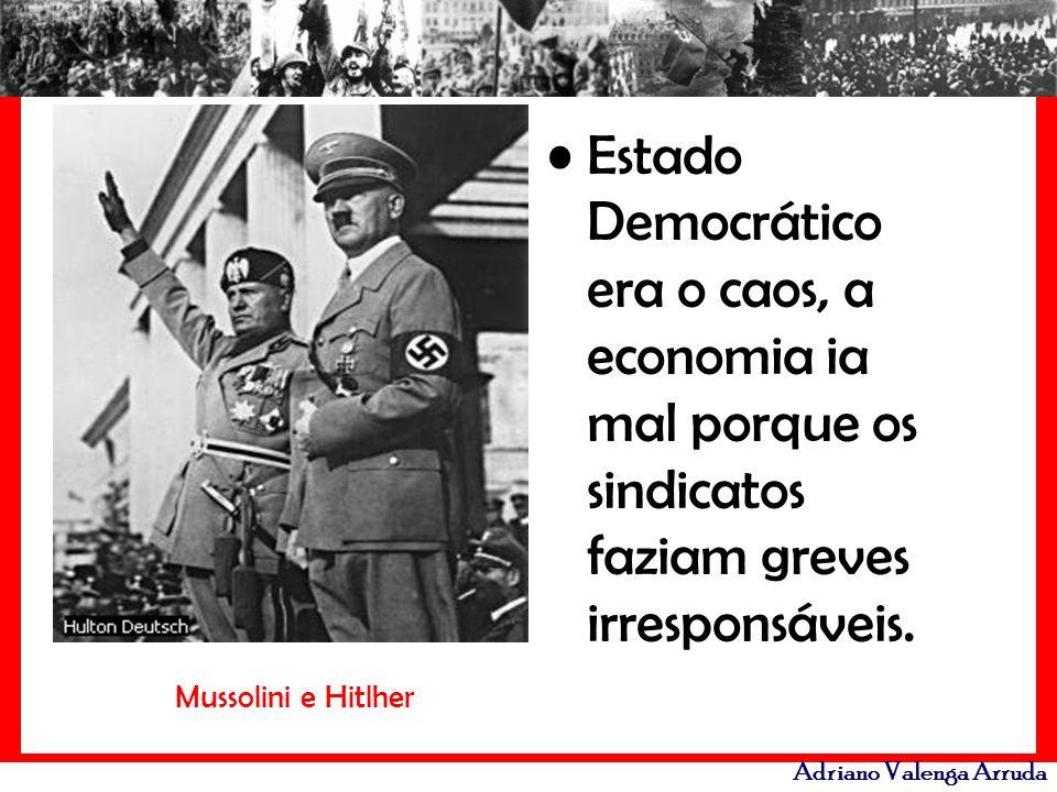 Estado Democrático era o caos, a economia ia mal porque os sindicatos faziam greves irresponsáveis.