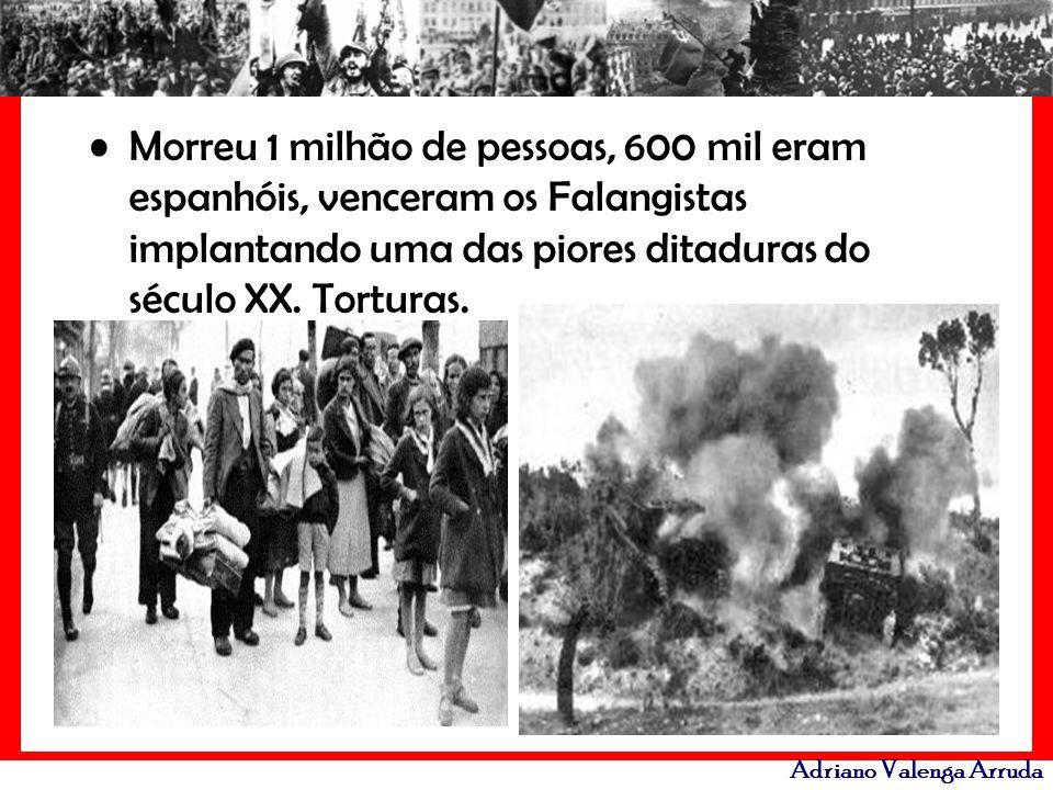 Morreu 1 milhão de pessoas, 600 mil eram espanhóis, venceram os Falangistas implantando uma das piores ditaduras do século XX.