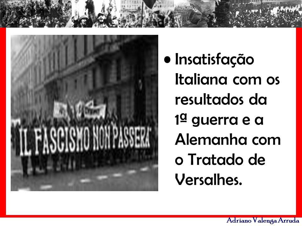 Insatisfação Italiana com os resultados da 1ª guerra e a Alemanha com o Tratado de Versalhes.