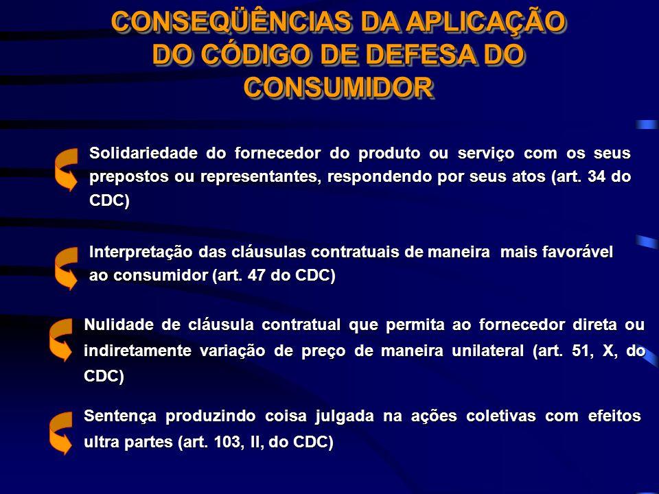 CONSEQÜÊNCIAS DA APLICAÇÃO DO CÓDIGO DE DEFESA DO CONSUMIDOR