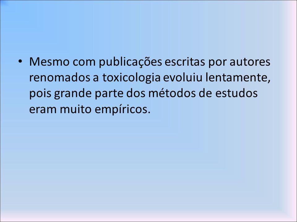 Mesmo com publicações escritas por autores renomados a toxicologia evoluiu lentamente, pois grande parte dos métodos de estudos eram muito empíricos.