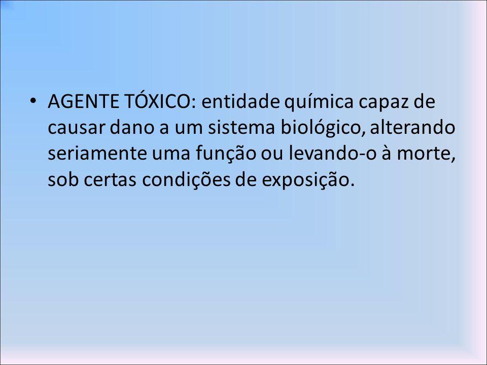 AGENTE TÓXICO: entidade química capaz de causar dano a um sistema biológico, alterando seriamente uma função ou levando-o à morte, sob certas condições de exposição.