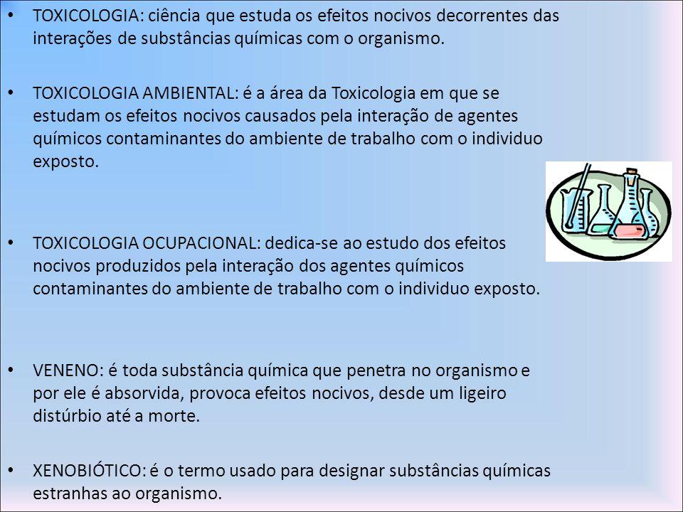 TOXICOLOGIA: ciência que estuda os efeitos nocivos decorrentes das interações de substâncias químicas com o organismo.