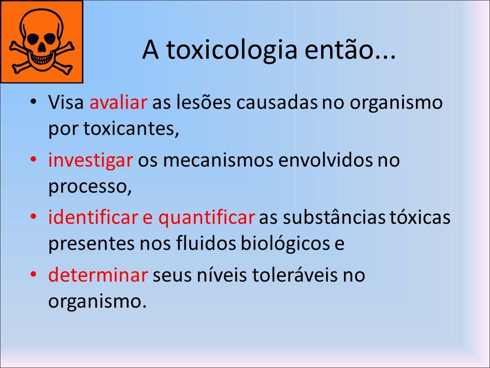A toxicologia então...Visa avaliar as lesões causadas no organismo por toxicantes, investigar os mecanismos envolvidos no processo,