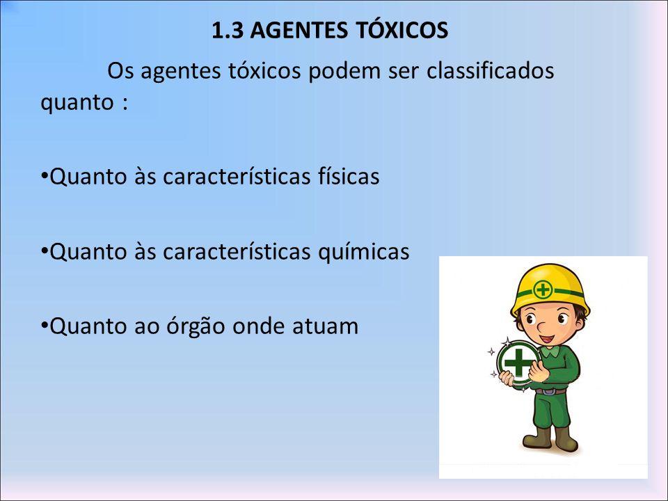 1.3 AGENTES TÓXICOS Os agentes tóxicos podem ser classificados quanto : Quanto às características físicas.