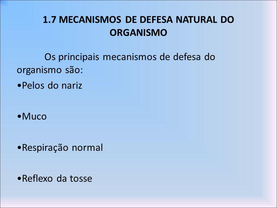 1.7 MECANISMOS DE DEFESA NATURAL DO ORGANISMO