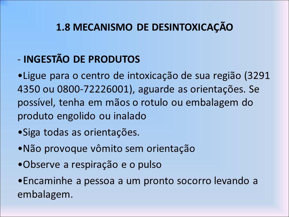 1.8 MECANISMO DE DESINTOXICAÇÃO