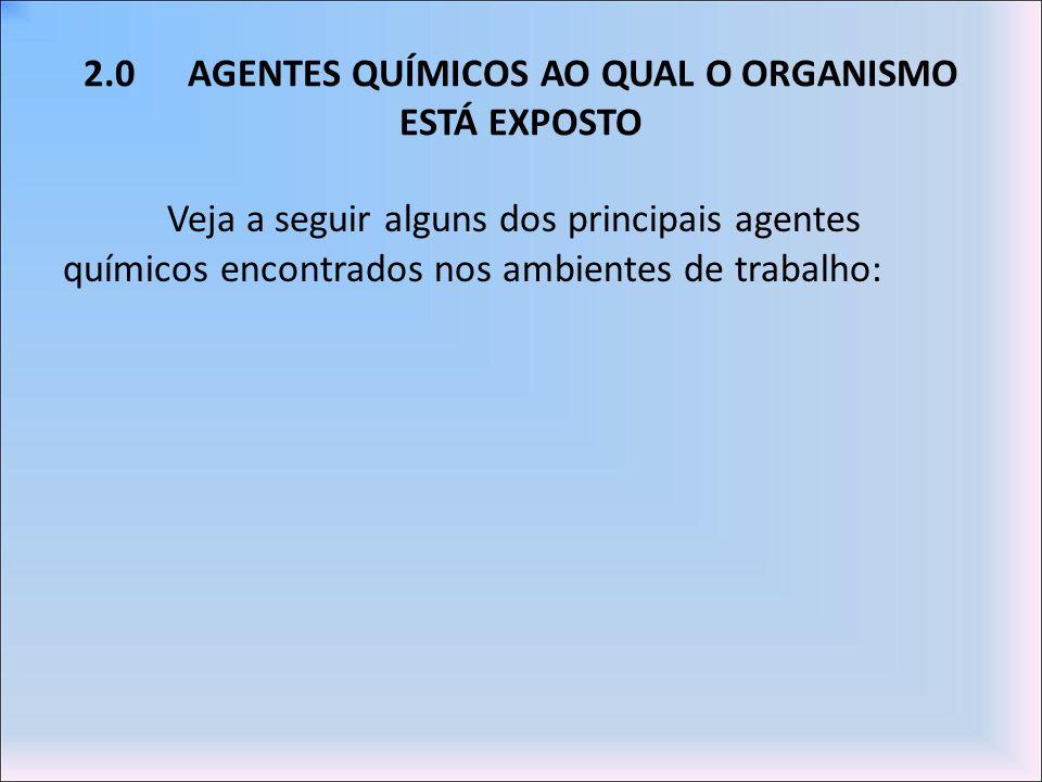 2.0 AGENTES QUÍMICOS AO QUAL O ORGANISMO ESTÁ EXPOSTO
