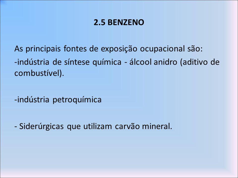 2.5 BENZENO As principais fontes de exposição ocupacional são: indústria de síntese química - álcool anidro (aditivo de combustível).