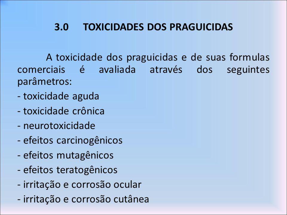 3.0 TOXICIDADES DOS PRAGUICIDAS