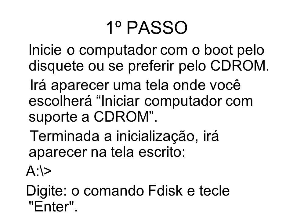 1º PASSO Inicie o computador com o boot pelo disquete ou se preferir pelo CDROM.