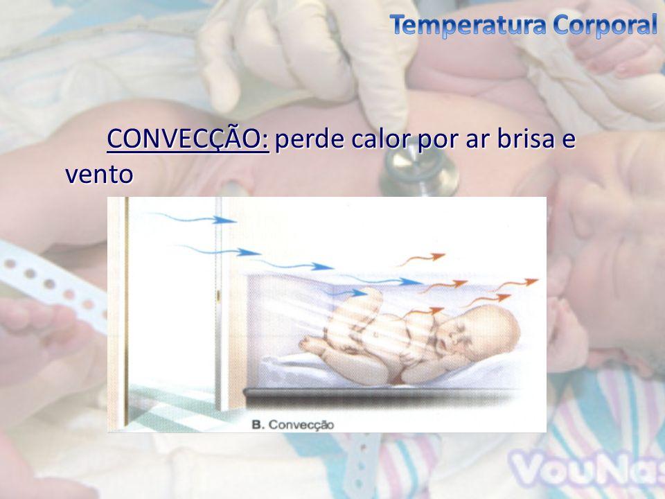 Temperatura Corporal CONVECÇÃO: perde calor por ar brisa e vento