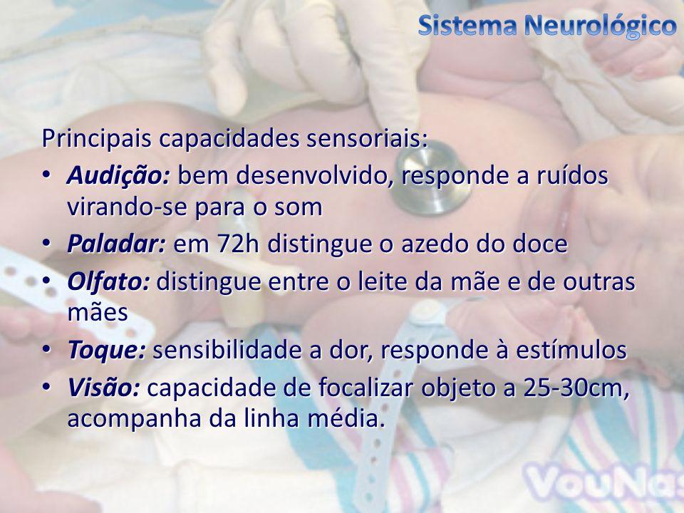 Sistema Neurológico Principais capacidades sensoriais: