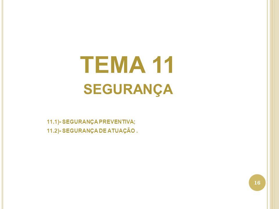 TEMA 11 SEGURANÇA 11.1)- SEGURANÇA PREVENTIVA;