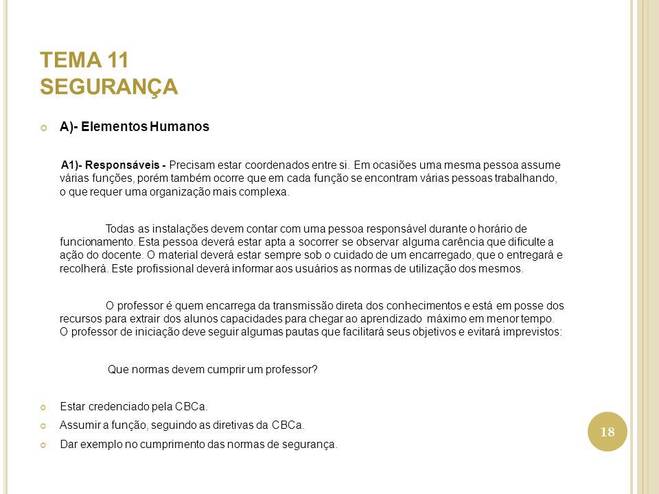 TEMA 11 SEGURANÇA A)- Elementos Humanos