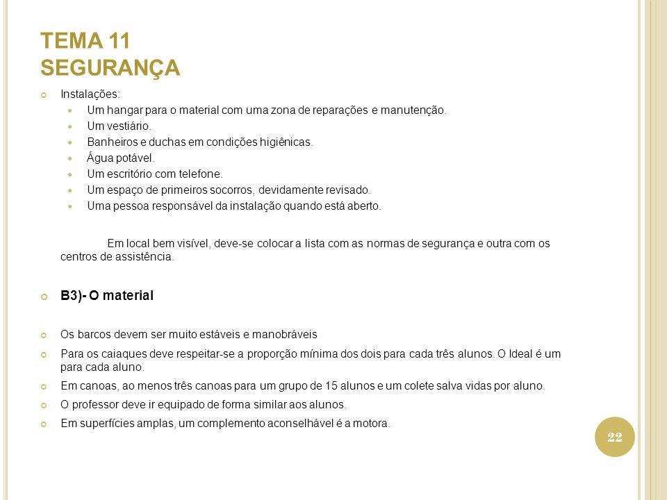TEMA 11 SEGURANÇA B3)- O material Instalações:
