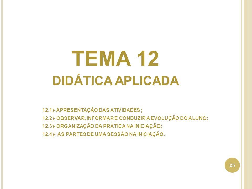 TEMA 12 DIDÁTICA APLICADA 12.1)- APRESENTAÇÃO DAS ATIVIDADES ;