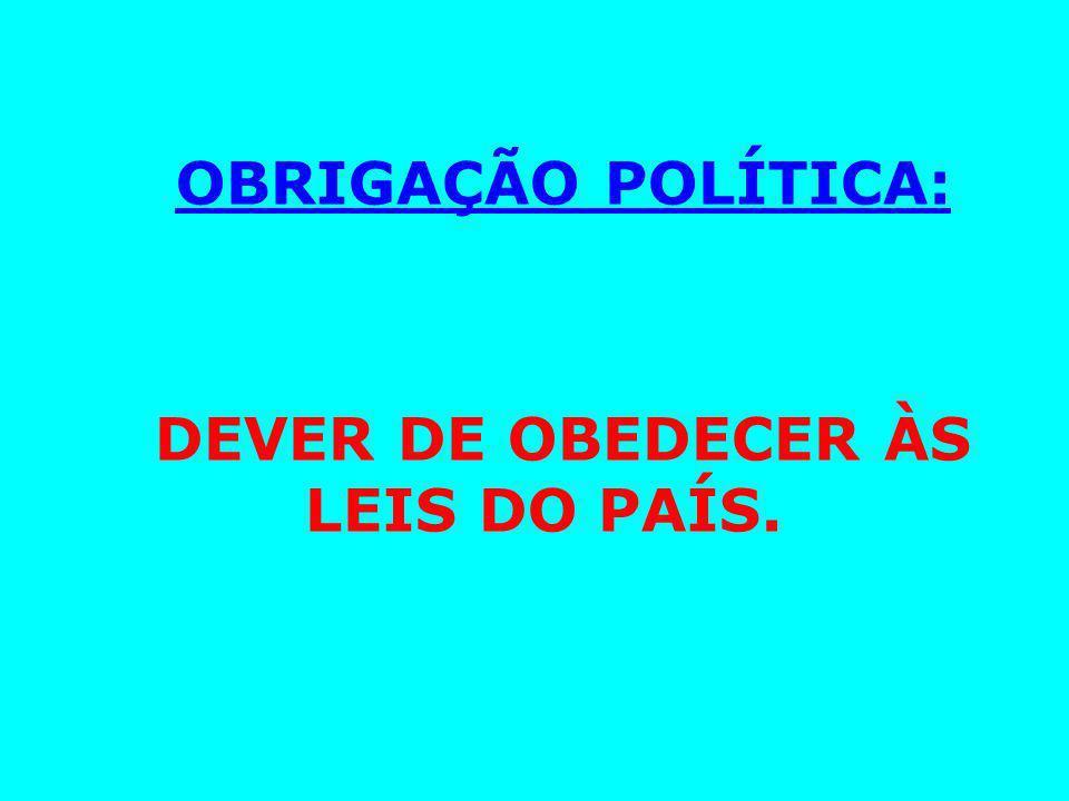 OBRIGAÇÃO POLÍTICA: DEVER DE OBEDECER ÀS LEIS DO PAÍS.