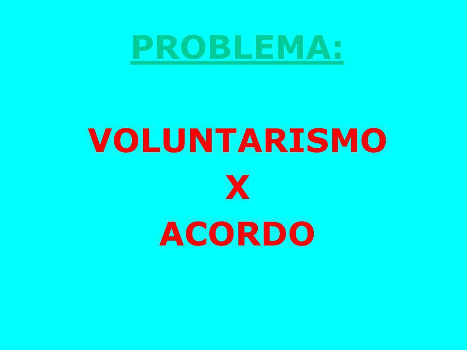 PROBLEMA: VOLUNTARISMO X ACORDO