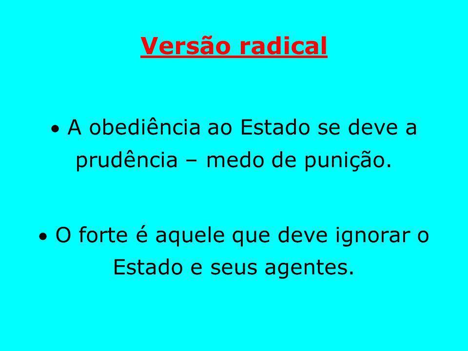 Versão radical A obediência ao Estado se deve a prudência – medo de punição.