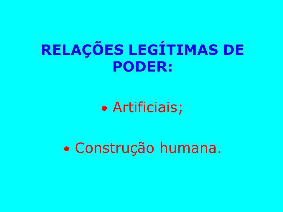 RELAÇÕES LEGÍTIMAS DE PODER:  Artificiais;  Construção humana.