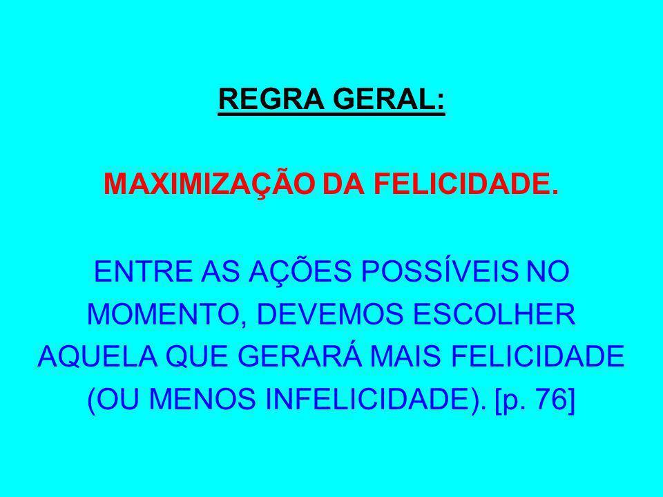 MAXIMIZAÇÃO DA FELICIDADE.