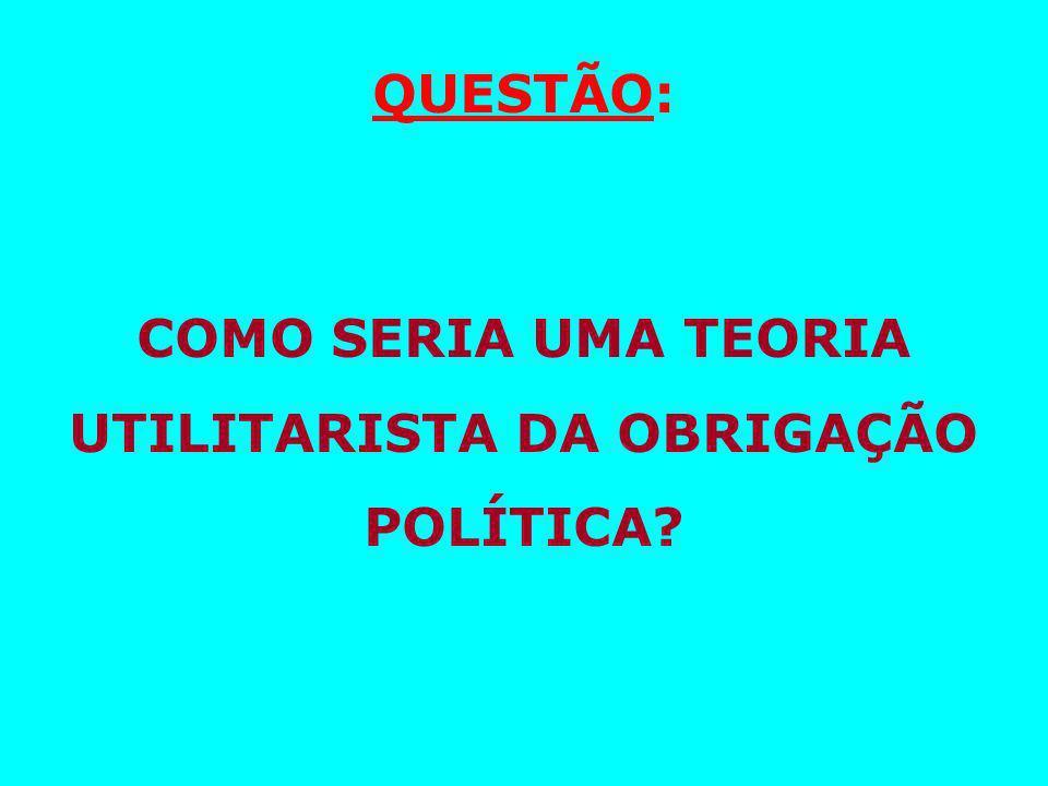 QUESTÃO: COMO SERIA UMA TEORIA UTILITARISTA DA OBRIGAÇÃO POLÍTICA