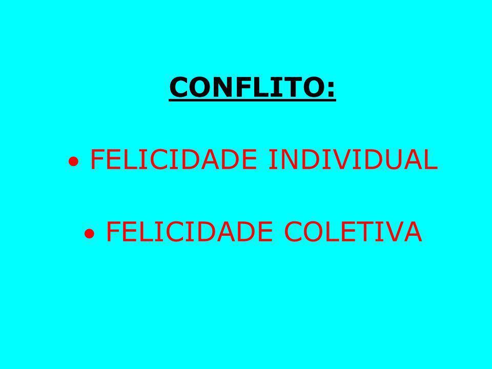 CONFLITO:  FELICIDADE INDIVIDUAL  FELICIDADE COLETIVA