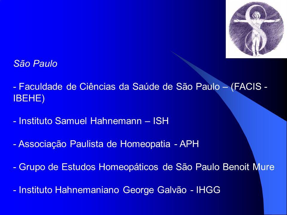 São Paulo- Faculdade de Ciências da Saúde de São Paulo – (FACIS - IBEHE) - Instituto Samuel Hahnemann – ISH.