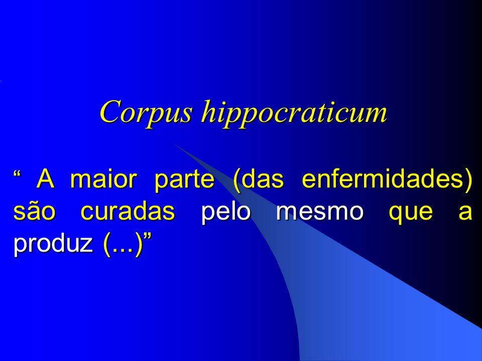 Corpus hippocraticum A maior parte (das enfermidades) são curadas pelo mesmo que a produz (...)