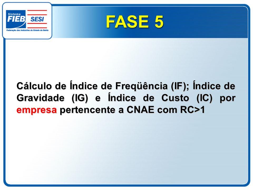 FASE 5Cálculo de Índice de Freqüência (IF); Índice de Gravidade (IG) e Índice de Custo (IC) por empresa pertencente a CNAE com RC>1.