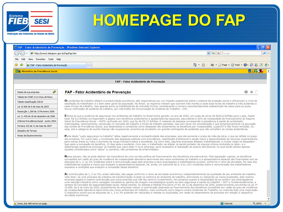 HOMEPAGE DO FAP
