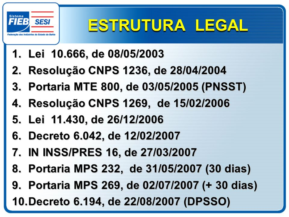 ESTRUTURA LEGAL Lei 10.666, de 08/05/2003