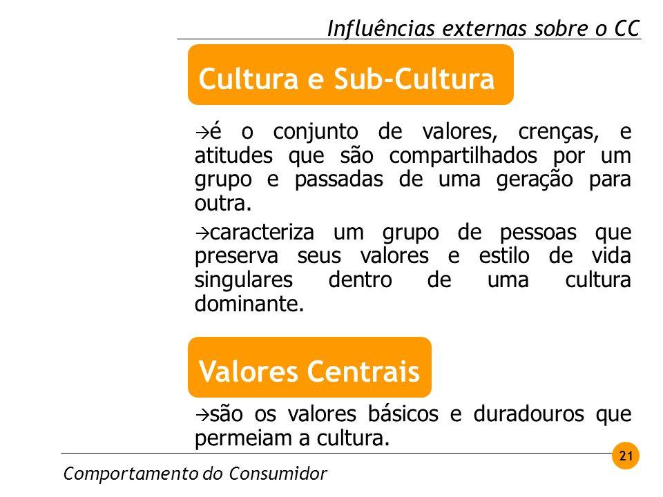 Cultura e Sub-Cultura Valores Centrais Influências externas sobre o CC