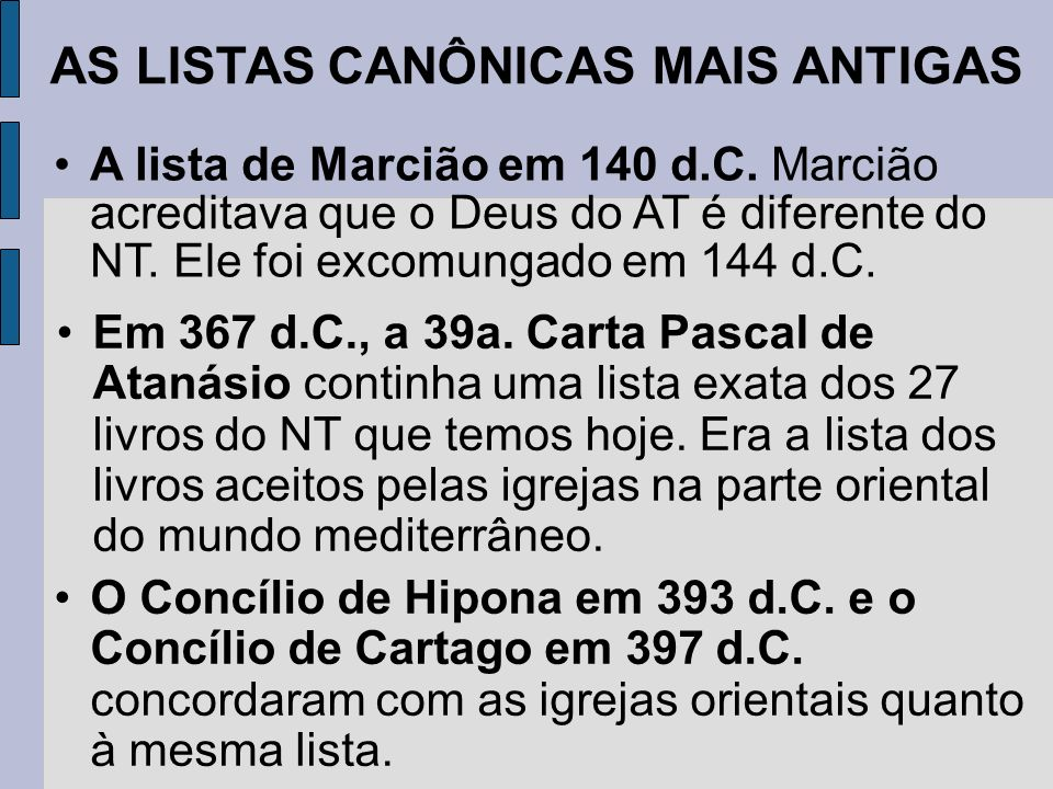 AS LISTAS CANÔNICAS MAIS ANTIGAS