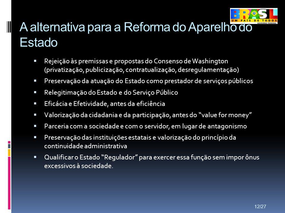 A alternativa para a Reforma do Aparelho do Estado