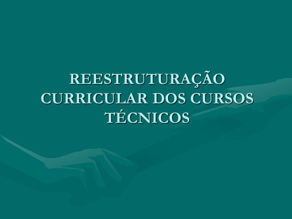 REESTRUTURAÇÃO CURRICULAR DOS CURSOS TÉCNICOS