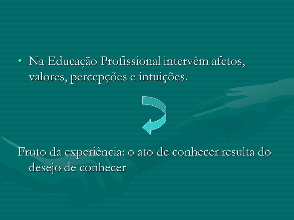 Na Educação Profissional intervêm afetos, valores, percepções e intuições.