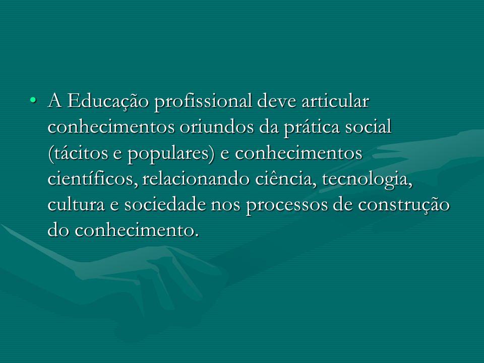 A Educação profissional deve articular conhecimentos oriundos da prática social (tácitos e populares) e conhecimentos científicos, relacionando ciência, tecnologia, cultura e sociedade nos processos de construção do conhecimento.