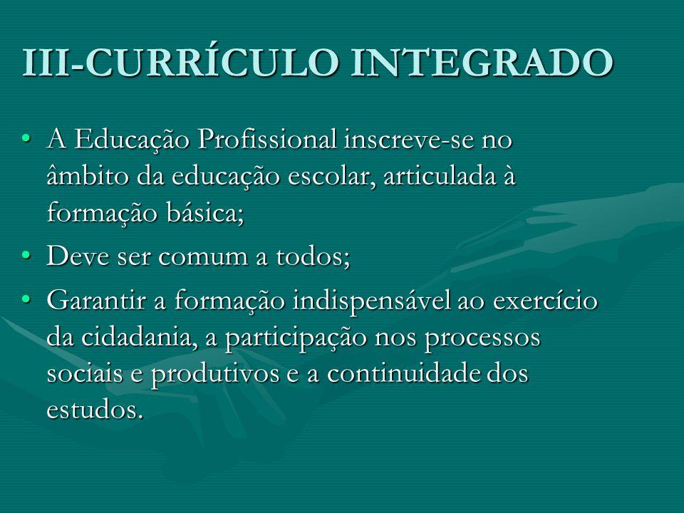III-CURRÍCULO INTEGRADO