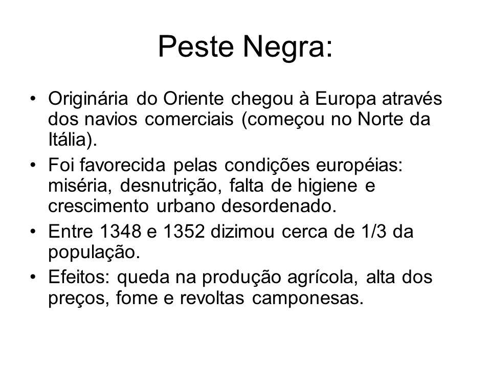 Peste Negra: Originária do Oriente chegou à Europa através dos navios comerciais (começou no Norte da Itália).
