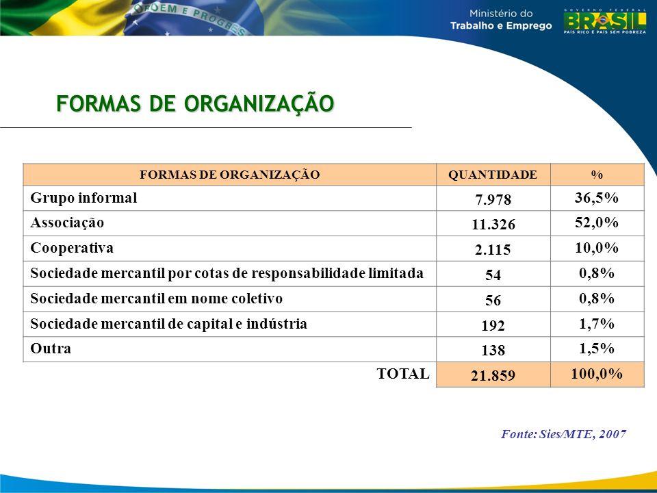 FORMAS DE ORGANIZAÇÃO Grupo informal 7.978 36,5% Associação 11.326